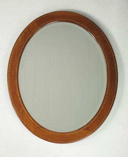 Edwardian Mahogany and Inlaid Oval Mirror