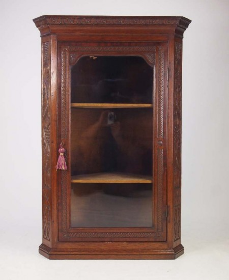 Carved Georgian Oak Corner Cabinet