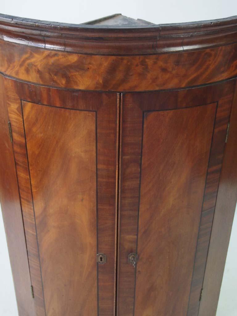 Antique Georgian Bow Fronted Mahogany Corner Cupboard