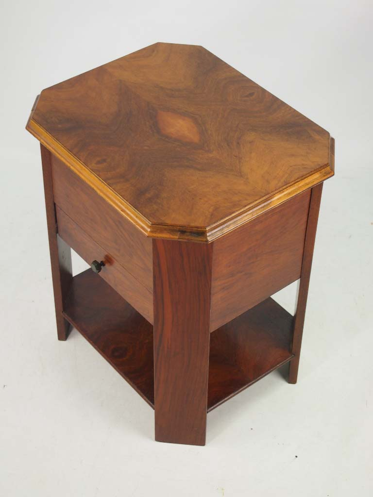 Art Deco Walnut Sewing Table Coffee Table