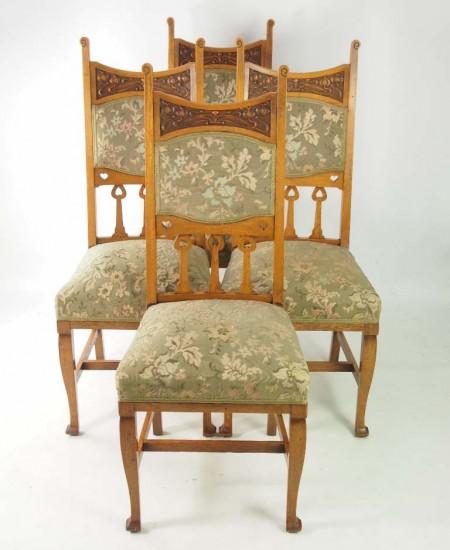 Set 4 Arts Crafts Oak Chairs
