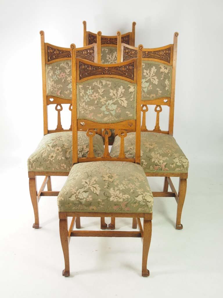 set 4 antique edwardian oak arts crafts chairs. Black Bedroom Furniture Sets. Home Design Ideas