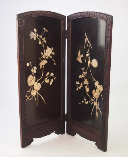 meiji period shibayama fire screen