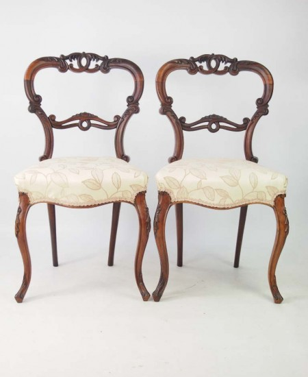 Pair Victorian Rosewood Balloon Back Chairs