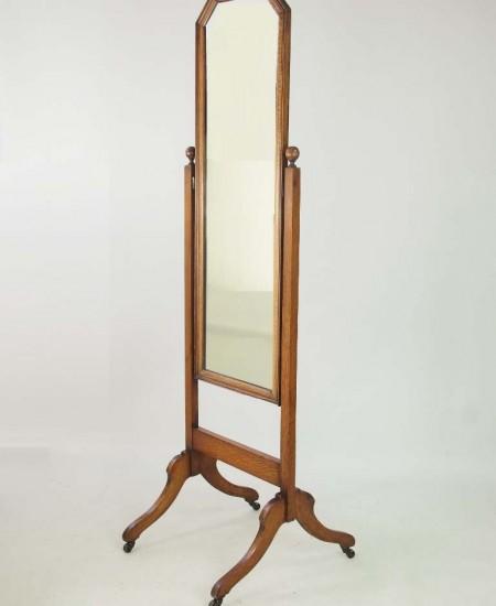 Edwardian Oak Cheval Mirror