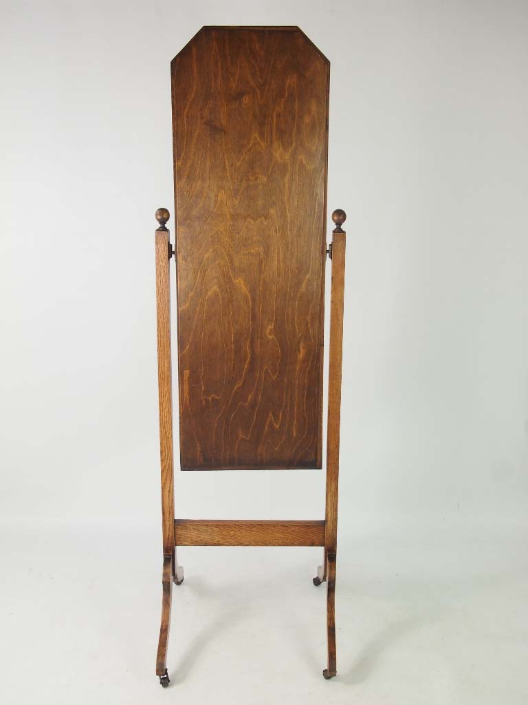 Tall Edwardian Oak Cheval Mirror