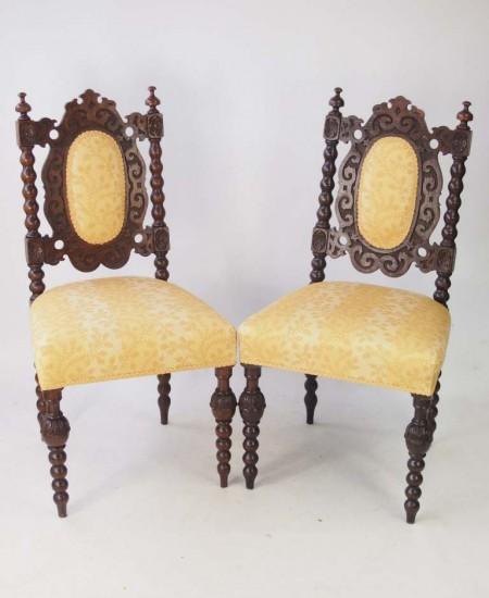 Pair Victorian Oak Gothic Chairs