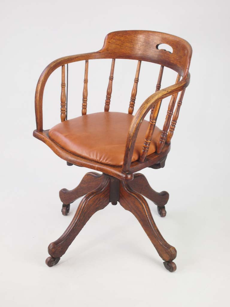 Antique Edwardian Oak Swivel Chair With Leather Seat