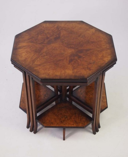 Quintetto Nest Art Deco Walnut Tables