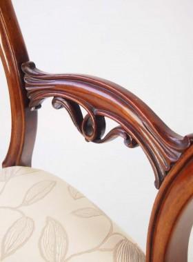 Pair Victorian Mahogany Balloon Back Chairs