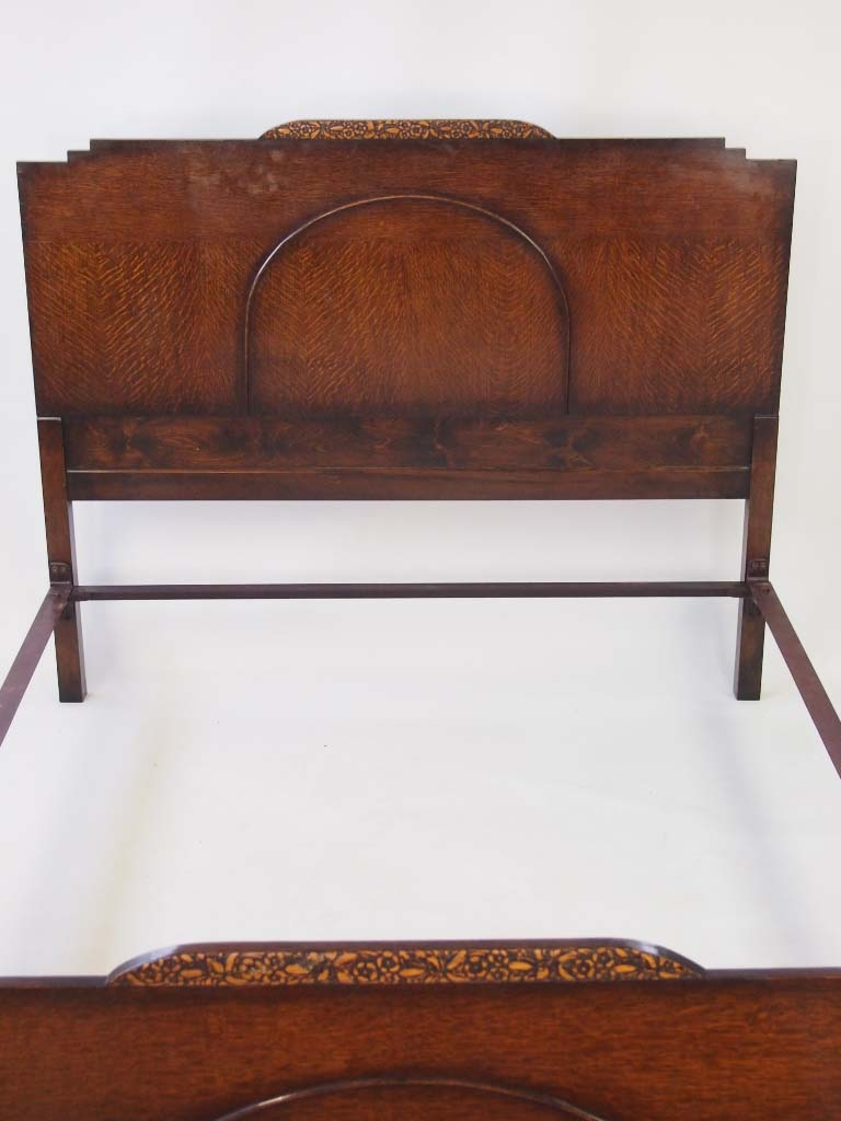 Vintage Art Deco Oak Standard Double Bed