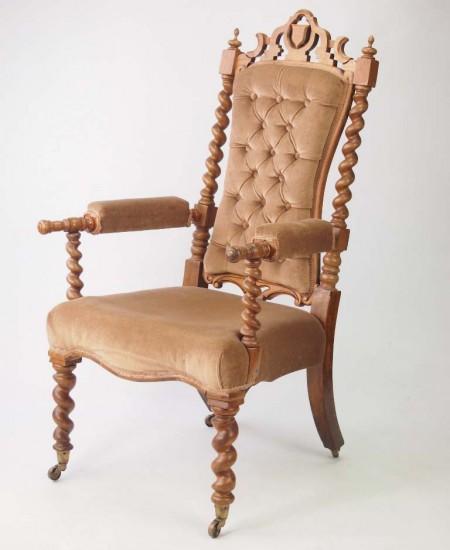 Victorian Gothic Walnut Armchair