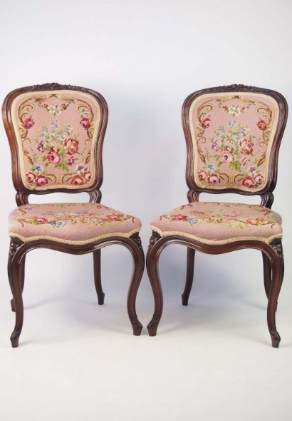 Pair C19th Fremch Rosewood Chairs