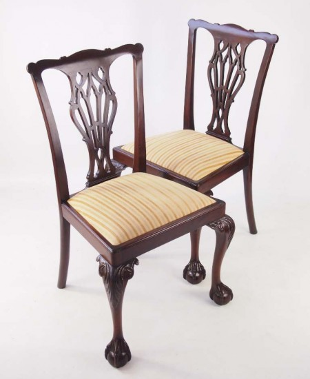 Pair Edwardian Chippendale Chairs