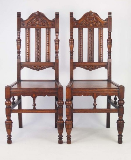 Pair Victorian Oak Hall Chairs