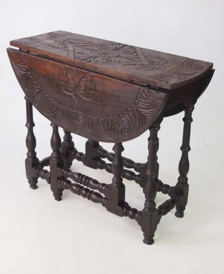 Antique Carved Oak Gate Leg Table
