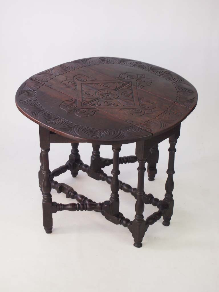 Antique Carved Oak Gateleg Table