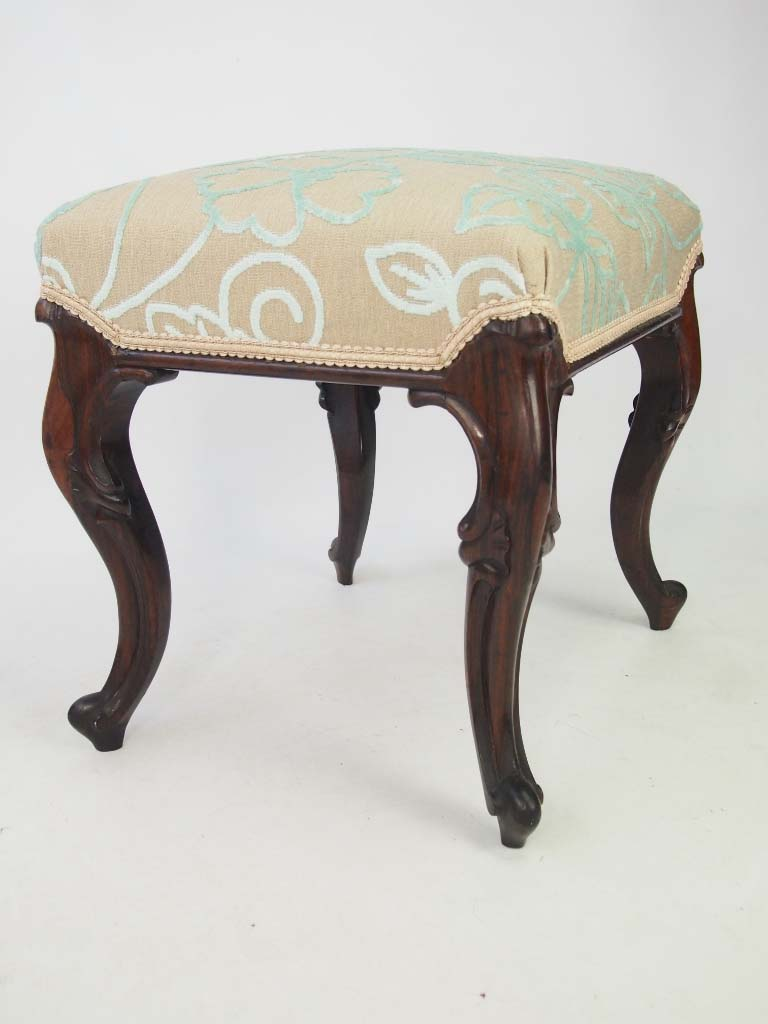 Antique Victorian Rosewood Stool With Cabriole Legs