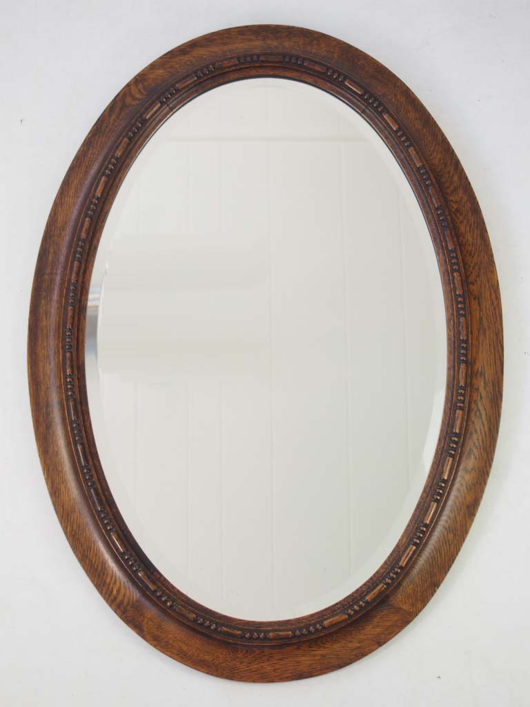 Edwardian Oak Framed Oval Mirror