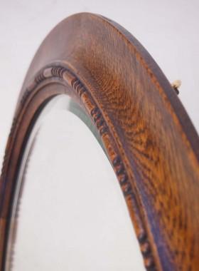 Edwardian Oak Oval Mirror