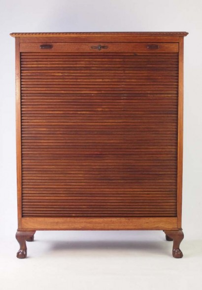 edwardian tambour front cabinet