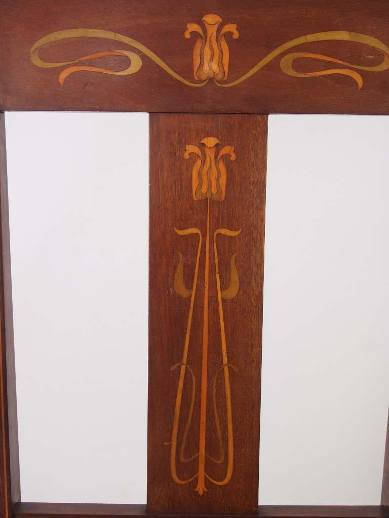 Antique Arts Amp Crafts Mahogany Inlaid Open Armchair