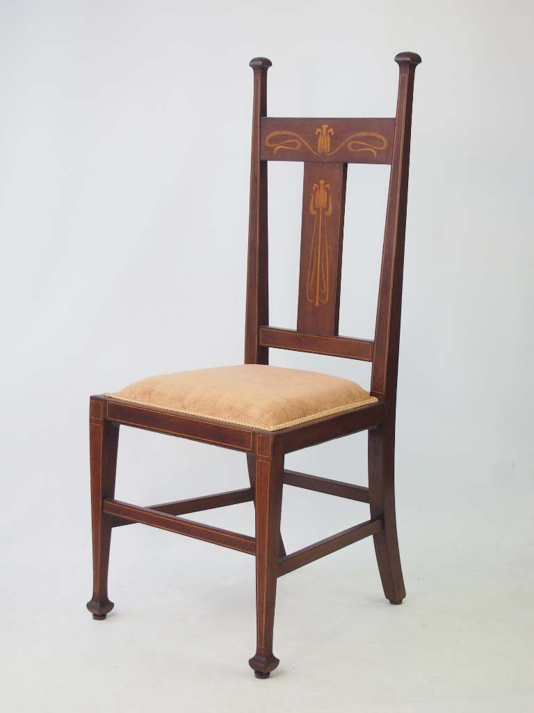 Antique Arts Amp Crafts Mahogany Inlaid Side Chair