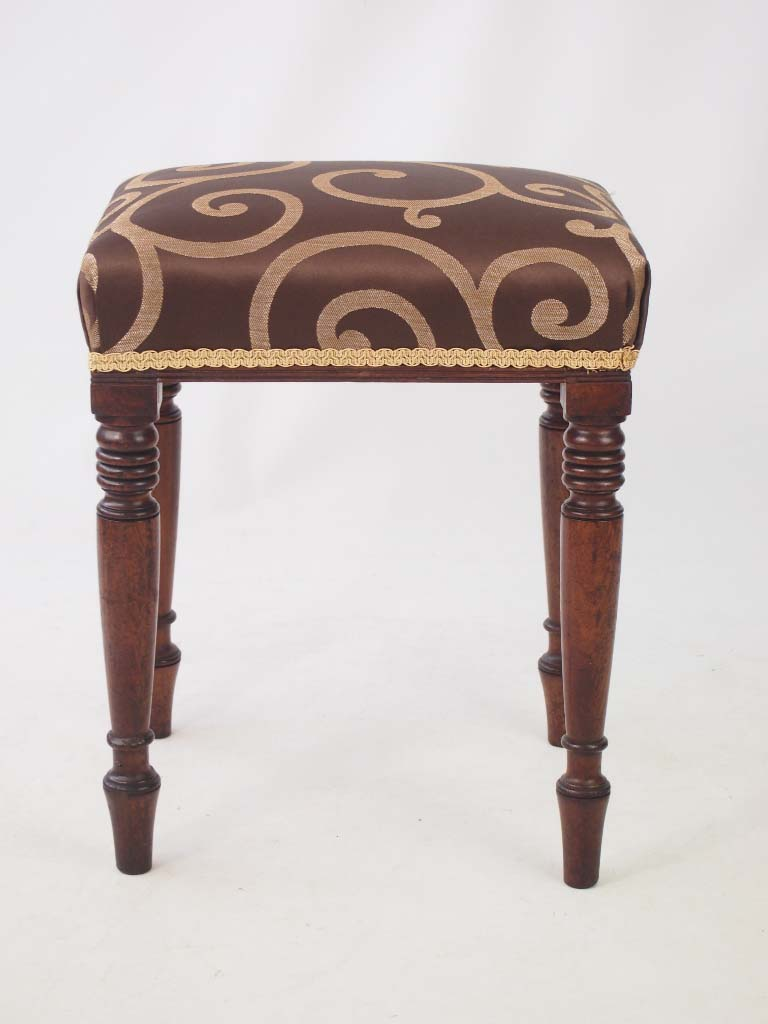 Antique Bed Stool: Antique Regency Mahogany Stool