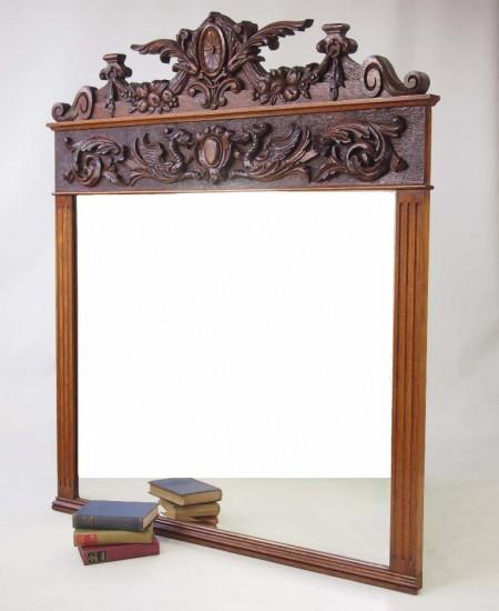 Large Antique Victorian Oak Overmantle Mirror
