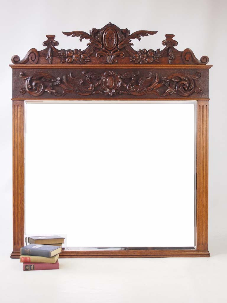 Large Antique Victorian Carved Oak Overmantle Mirror