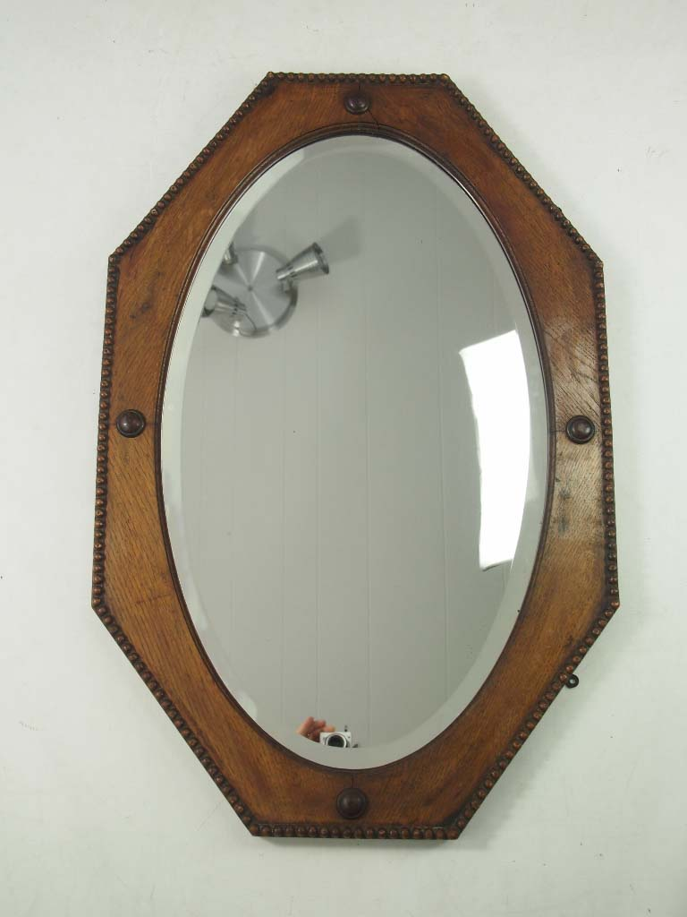 3 Vintage Oak Amp Mahogany Framed Wall Mirrors