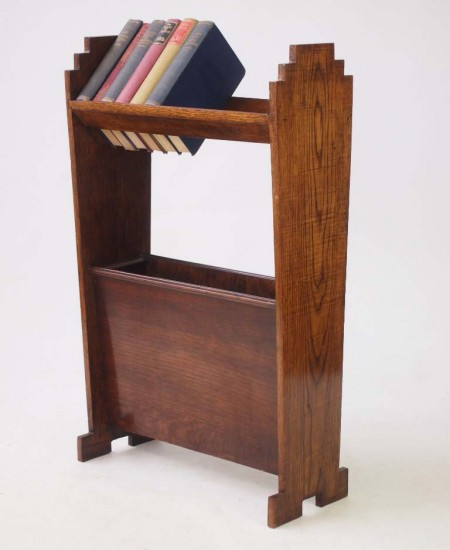 Small Art Deco Oak Book Trough
