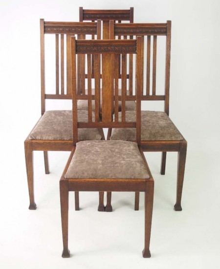 Set 4 Edwardian Oak Chairs