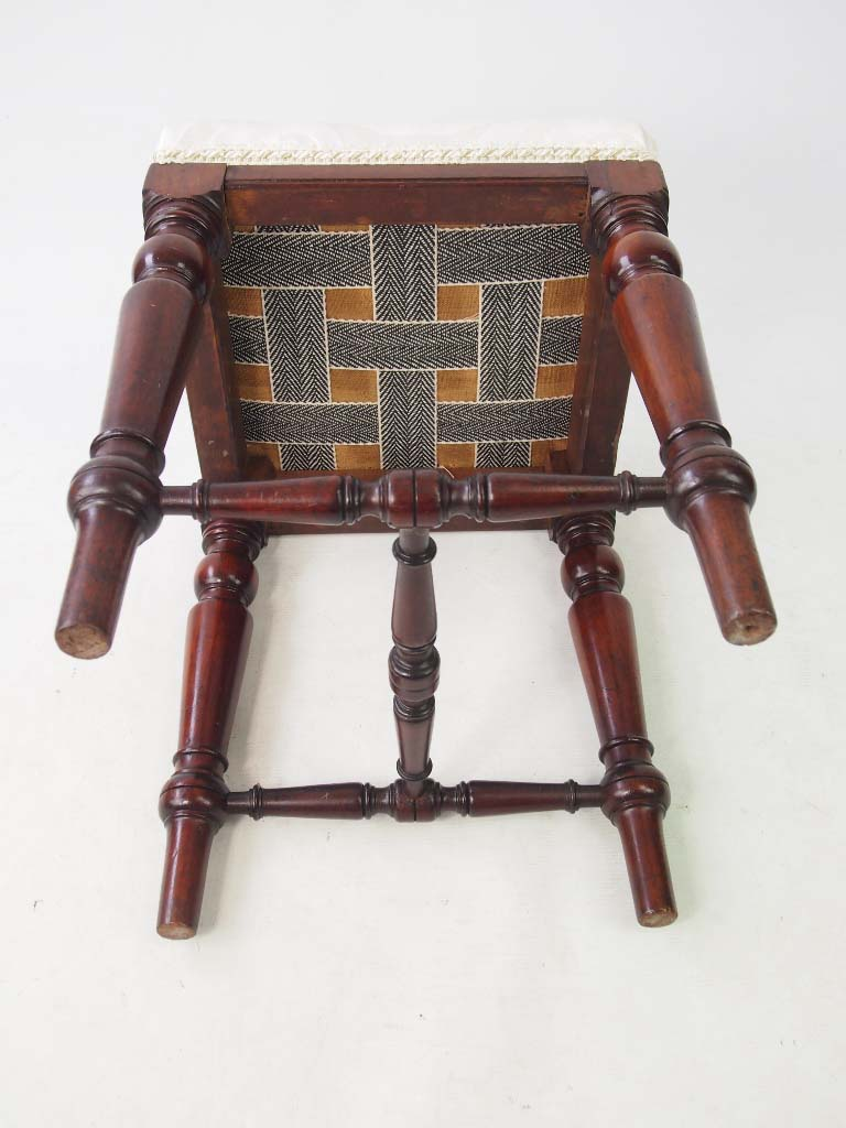 Antique Bed Stool: Antique Victorian Mahogany Stool