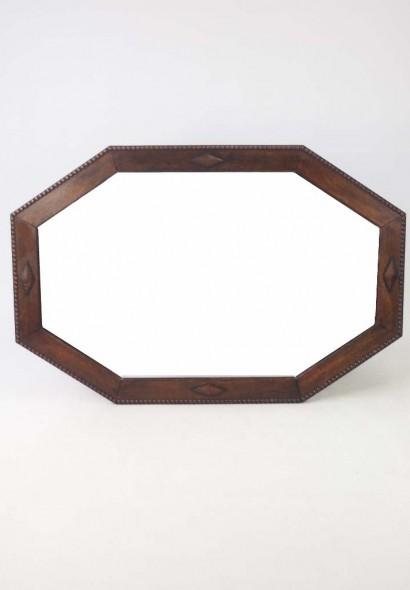 Large Octagonal Oak Framed Mirror