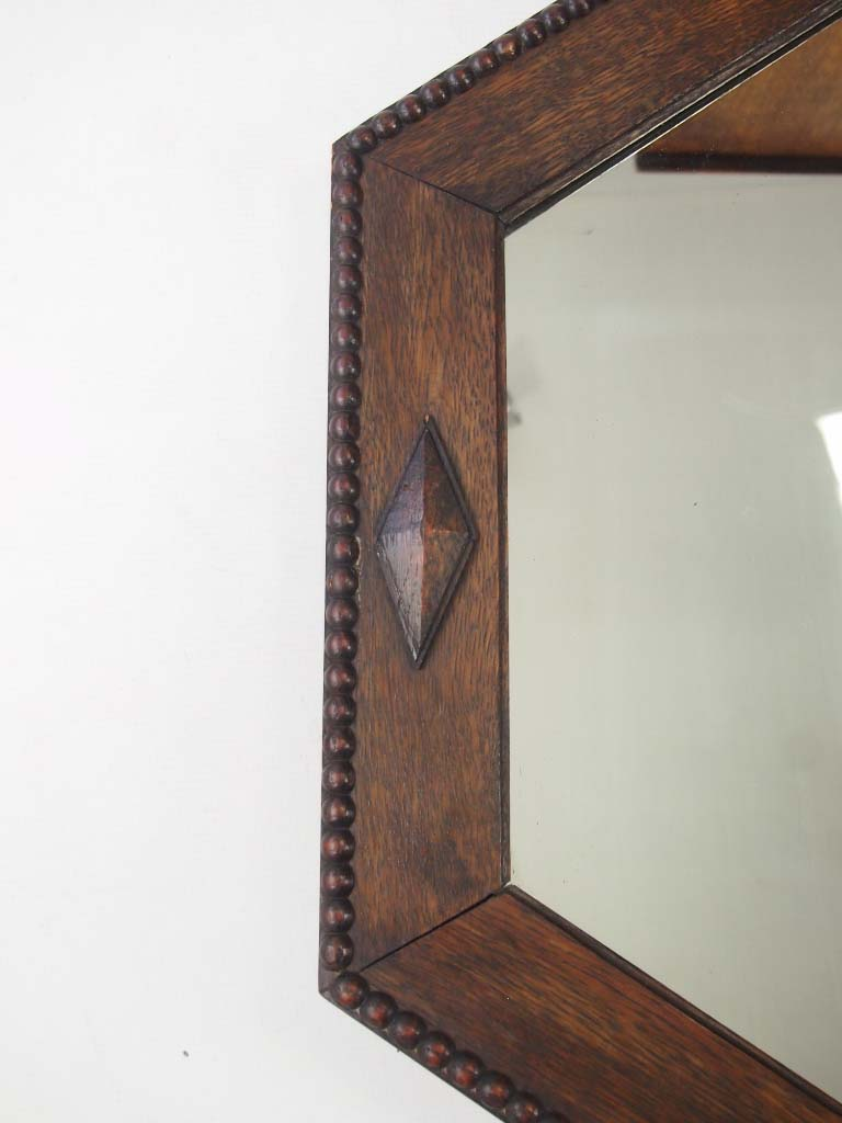 Large Octagonal Oak Framed Mirror Overmantle