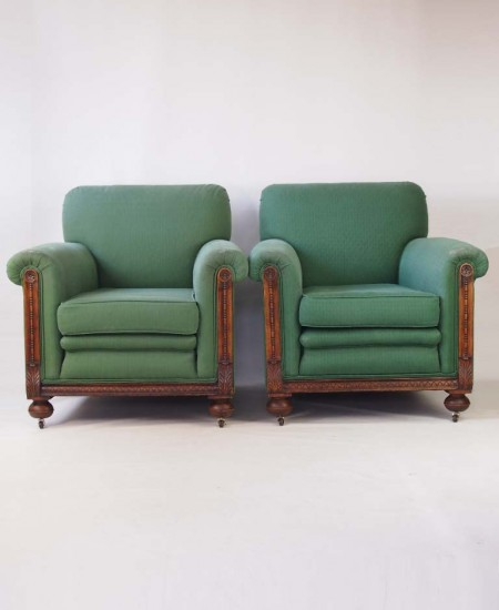 Pair 1920s Club Armchairs