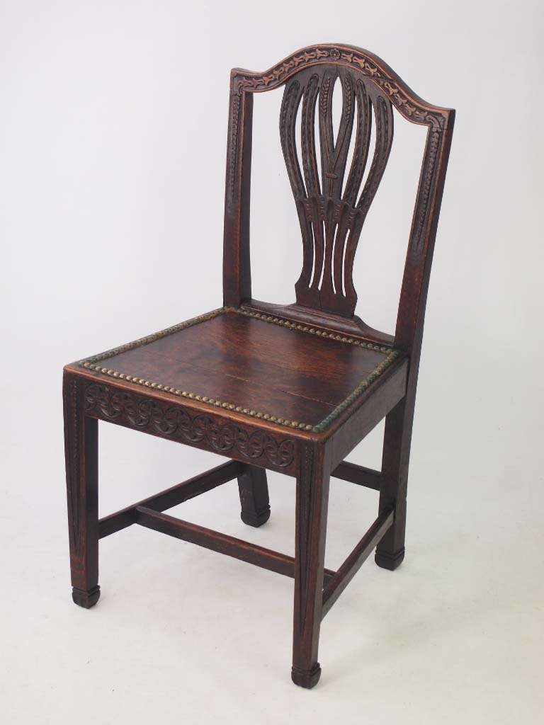 19th Century Oak Chair Carved With Cats
