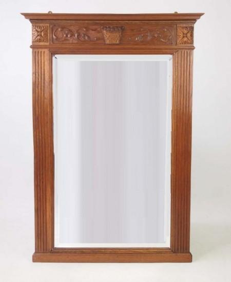 Edwardian Oak Framed Wall Mirror