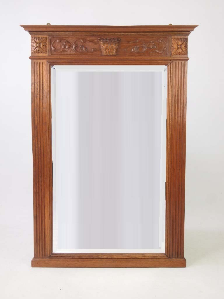 Large Vintage Oak Framed Wall Mirror