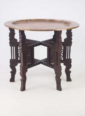 Vintage Brass Top Benares Folding Table