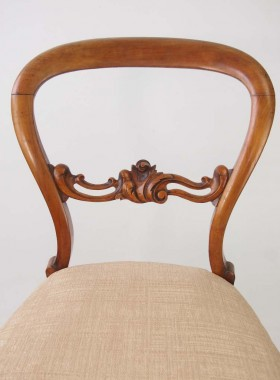 Pair Victorian Walnut Balloon Back Chairs