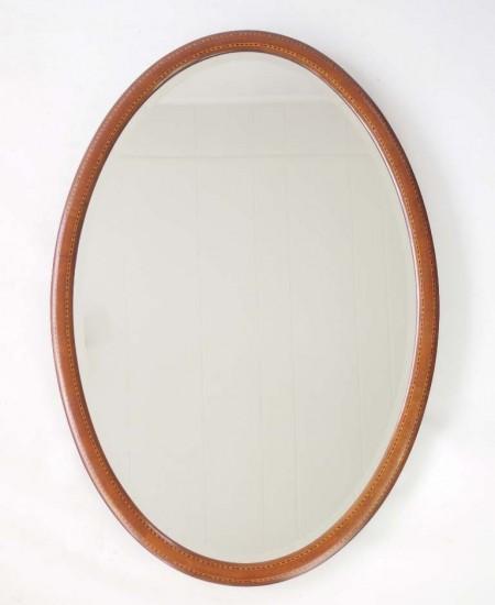 Ewdardian Mahogany Inlaid Oavl Mirror