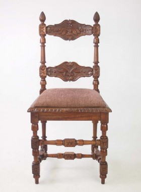 Pair Antique Walnut Chairs with Acorn Finials