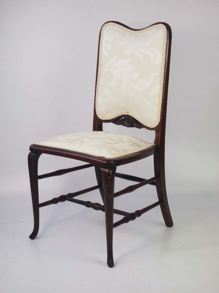 Dressing Table Chairs And Stools: Small Edwardian Mahogany & Inlaid Dressing Table Chair