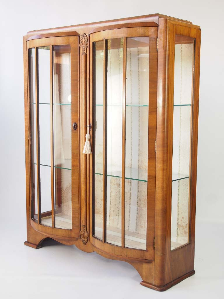 Vintage Art Deco Walnut Display Cabinet Bookcase