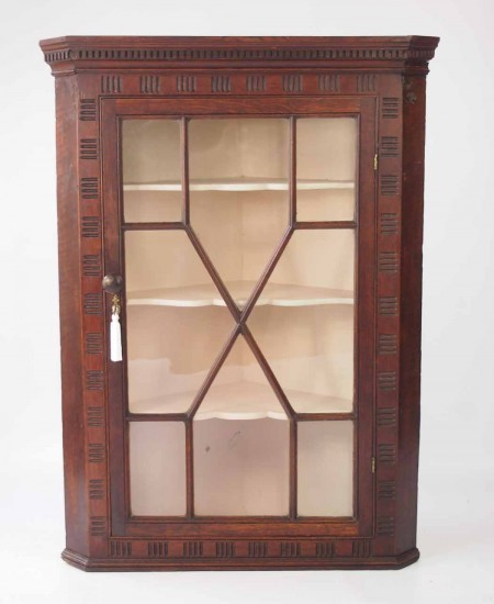 Antique Oak Glazed Corner Cupboard