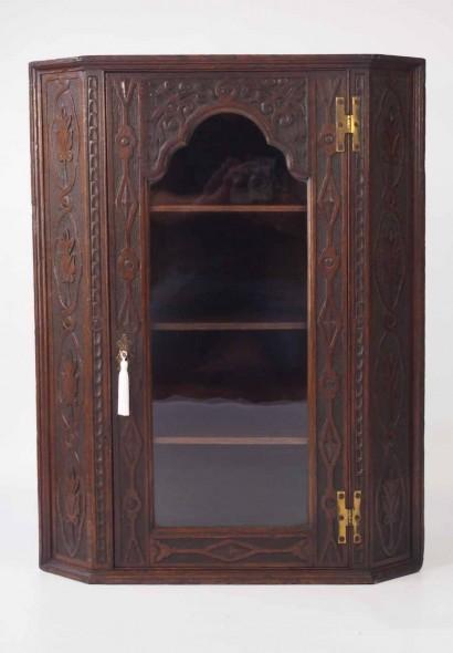 Georgian Carved Oak Corner Cupboard
