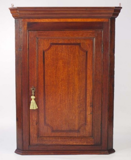 Antique George III Oak Corner Cupboard