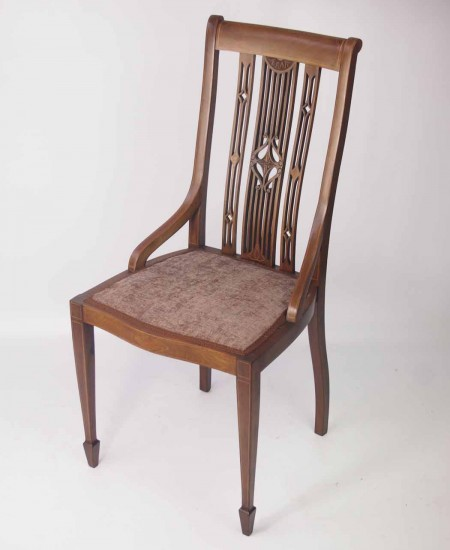 Edwardian Inlaid Mahogany Desk Chair